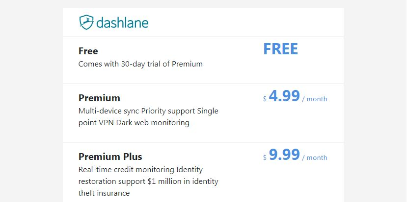 Dashlane pricing and plans