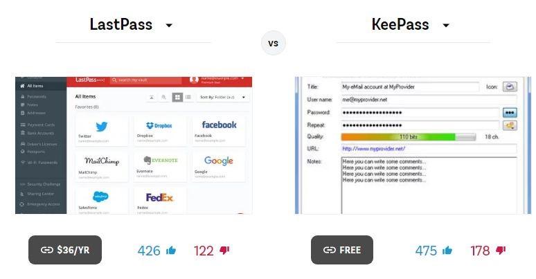 Pricing of LastPass VS KeePass