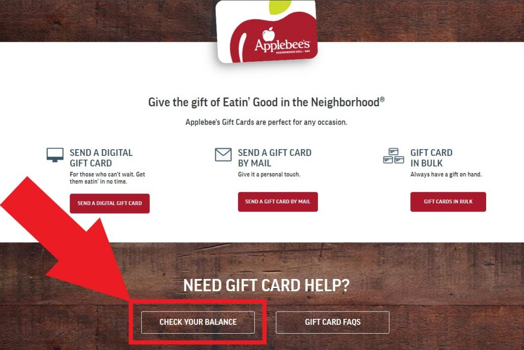 Check Applebee Gift card balance on the official website