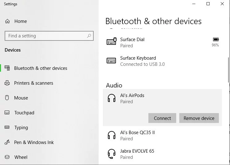 Connect AirPods using bluetooth