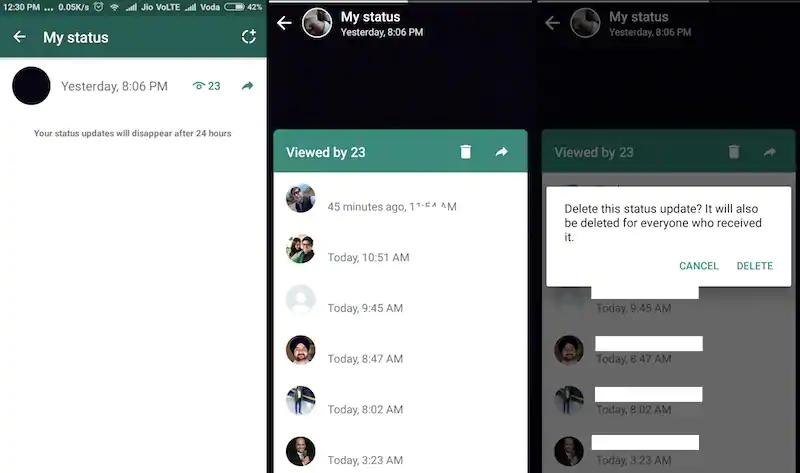 Delete status on WhatsApp