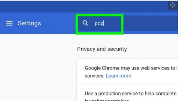 Search for pop in the security settings