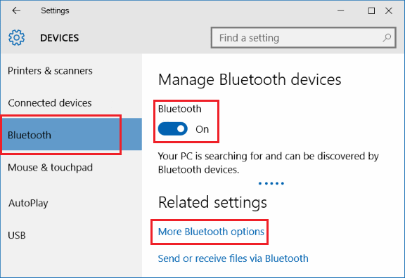 Bluetooth settings on windows PC
