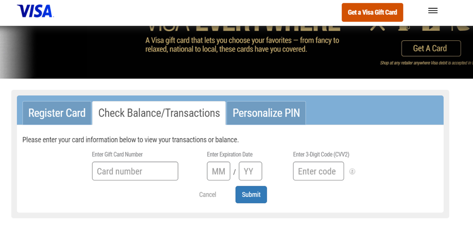 Check Balance/Transactions