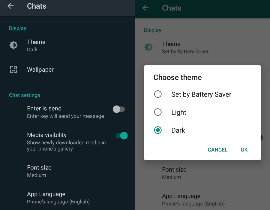 Selecting theme in android WhatsApp