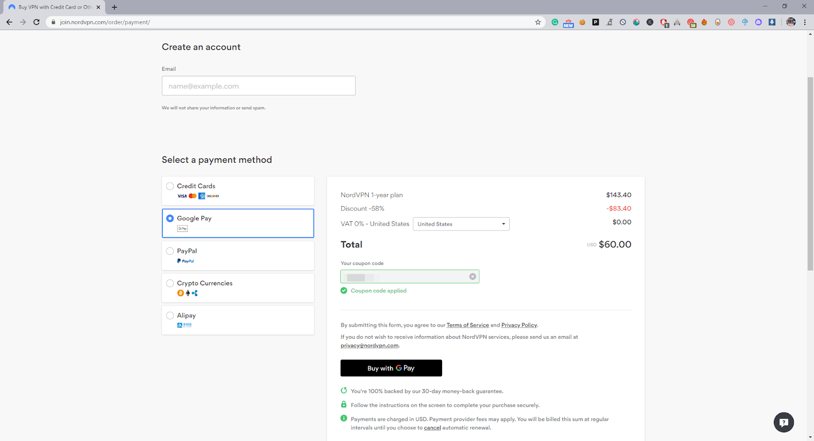 Adding payment method for Nord VPN