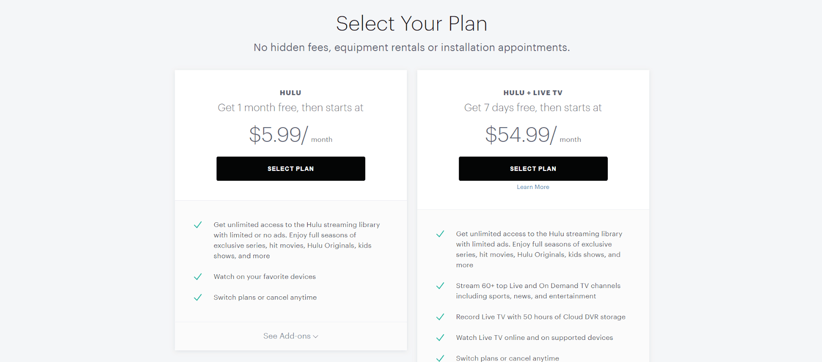 Hulu plans and pricing