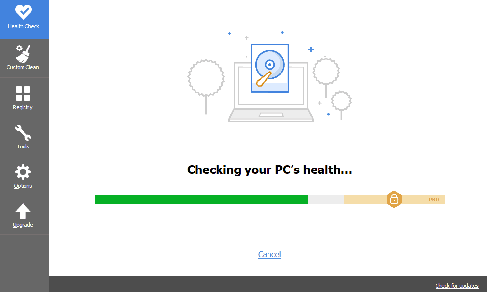 CCleaner checking checking your PC health