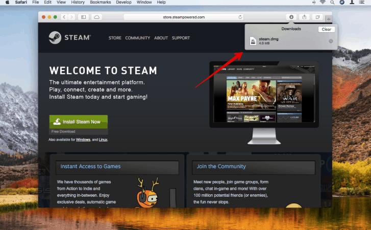 Download Steam from safari