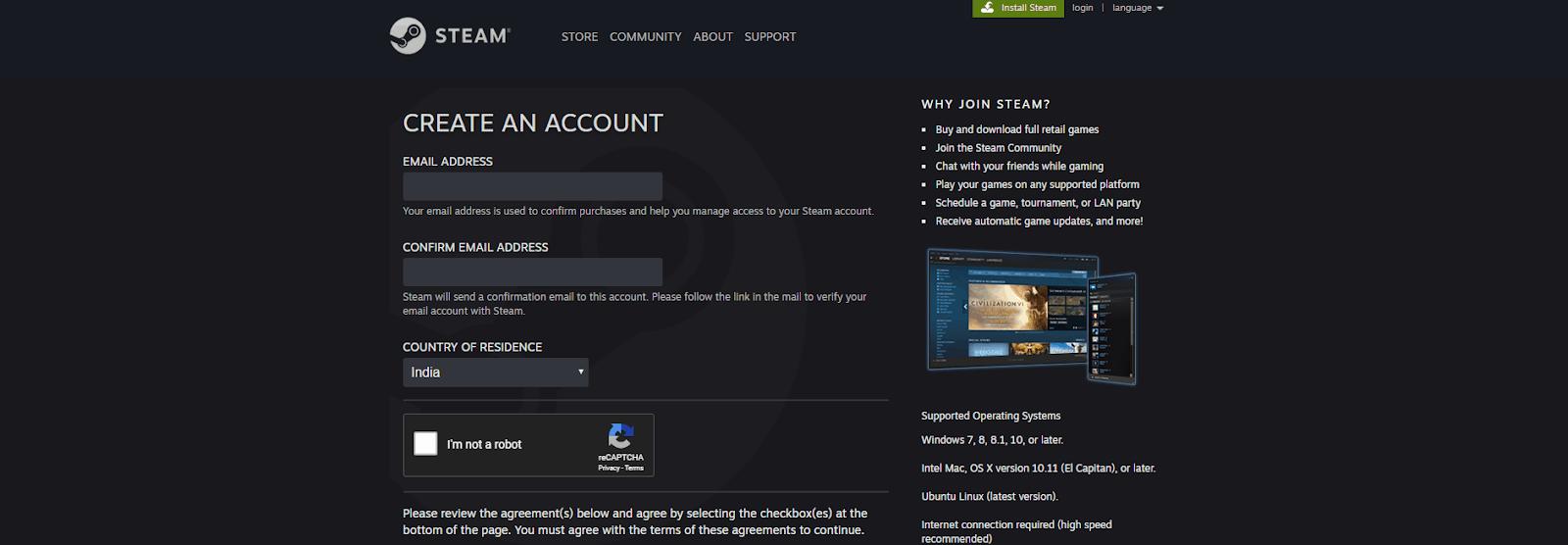 Enter steam Login credentials
